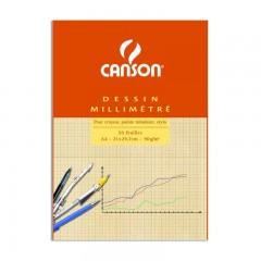 Carta opaca millimetrata CANSON (Blocco da 10 fogli)